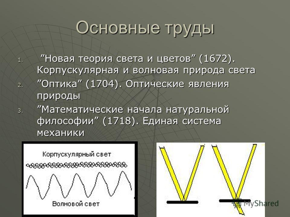 Основные труды 1. Новая теория света и цветов (1672). Корпускулярная и волновая природа света 2.Оптика (1704). Оптические явления природы 3.Математические начала натуральной философии (1718). Единая система механики