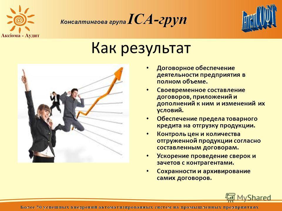 Как результат Договорное обеспечение деятельности предприятия в полном объеме. Своевременное составление договоров, приложений и дополнений к ним и изменений их условий. Обеспечение предела товарного кредита на отгрузку продукции. Контроль цен и коли