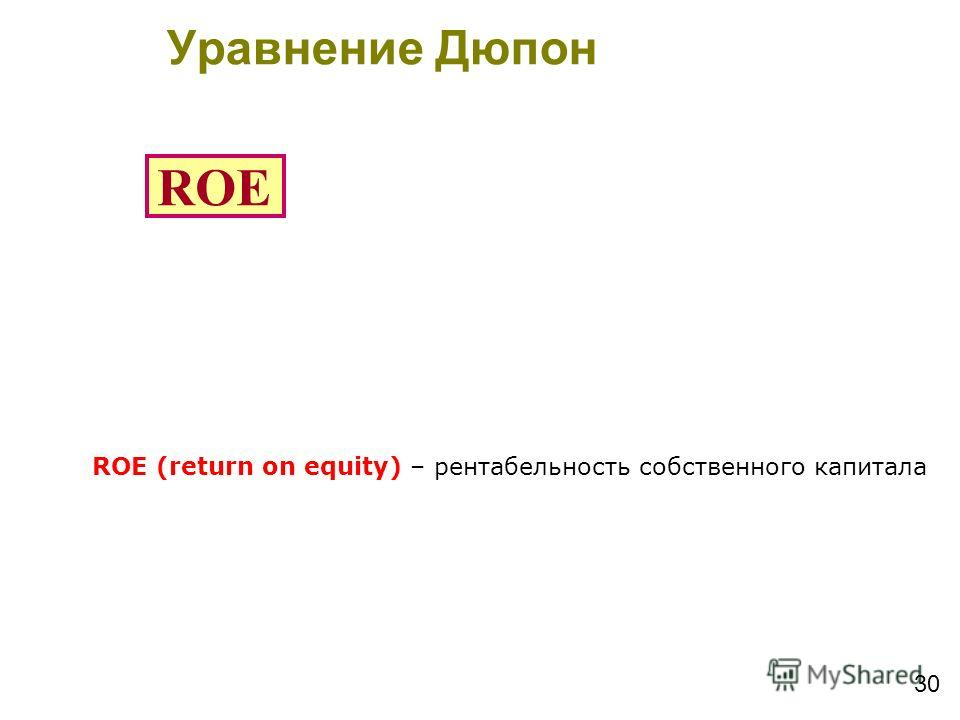 Уравнение Дюпон Du-Pont Equation 30 ROE ROE (return on equity) – рентабельность собственного капитала