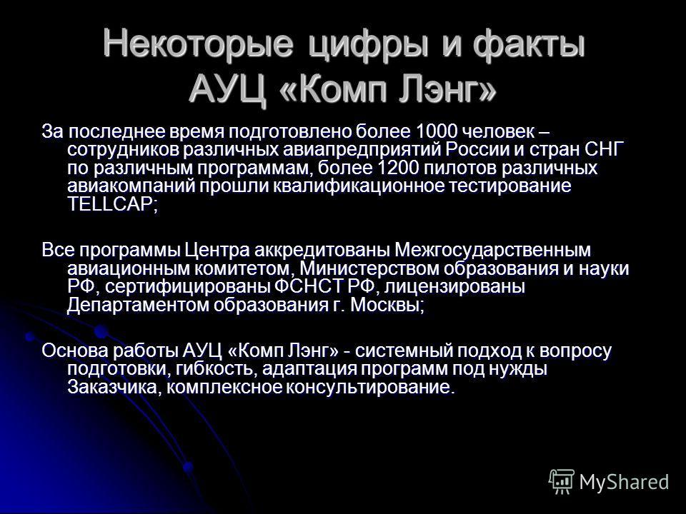 Некоторые цифры и факты АУЦ «Комп Лэнг» За последнее время подготовлено более 1000 человек – сотрудников различных авиапредприятий России и стран СНГ по различным программам, более 1200 пилотов различных авиакомпаний прошли квалификационное тестирова