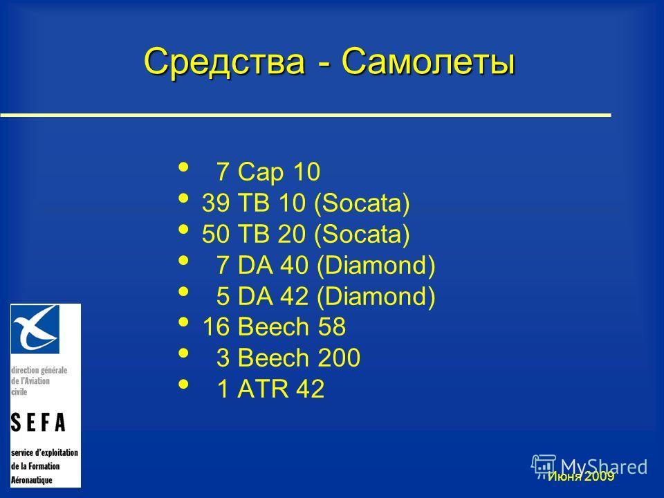 Июня 2009 7 Cap 10 39 TB 10 (Socata) 50 TB 20 (Socata) 7 DA 40 (Diamond) 5 DA 42 (Diamond) 16 Beech 58 3 Beech 200 1 ATR 42 Средства - Самолеты