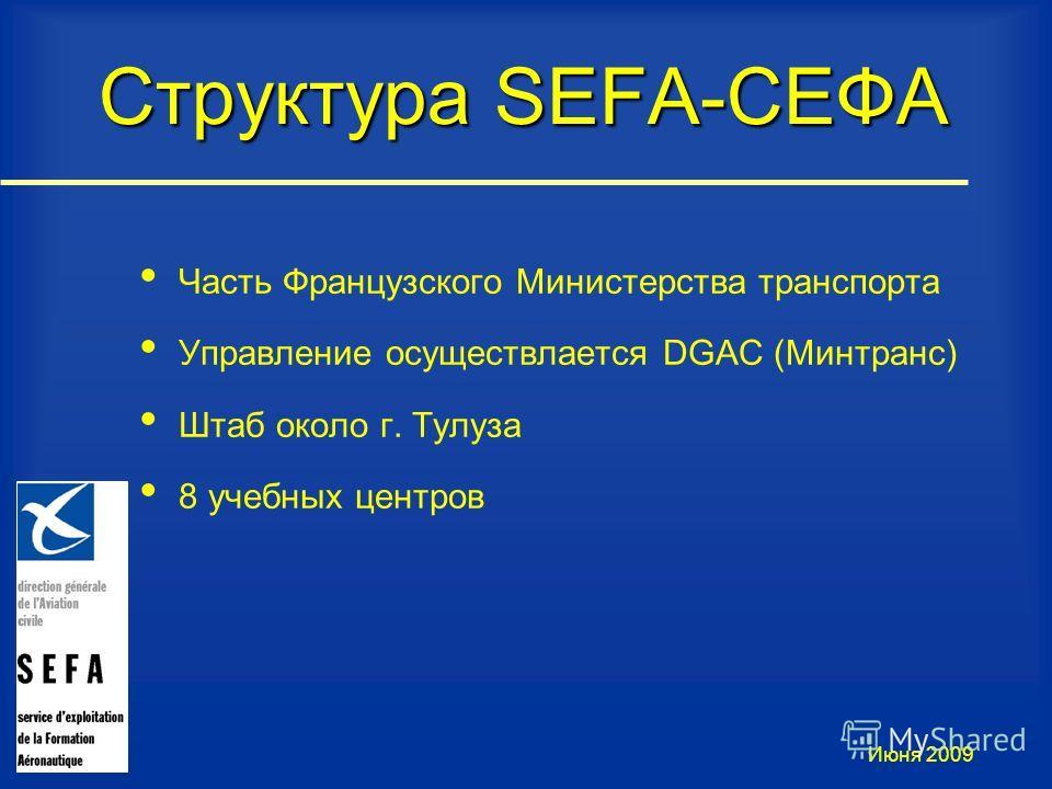 Структура SEFA-СЕФА Часть Французского Министерства транспорта Управление осуществлается DGAC (Минтранс) Штаб около г. Тулуза 8 учебных центров