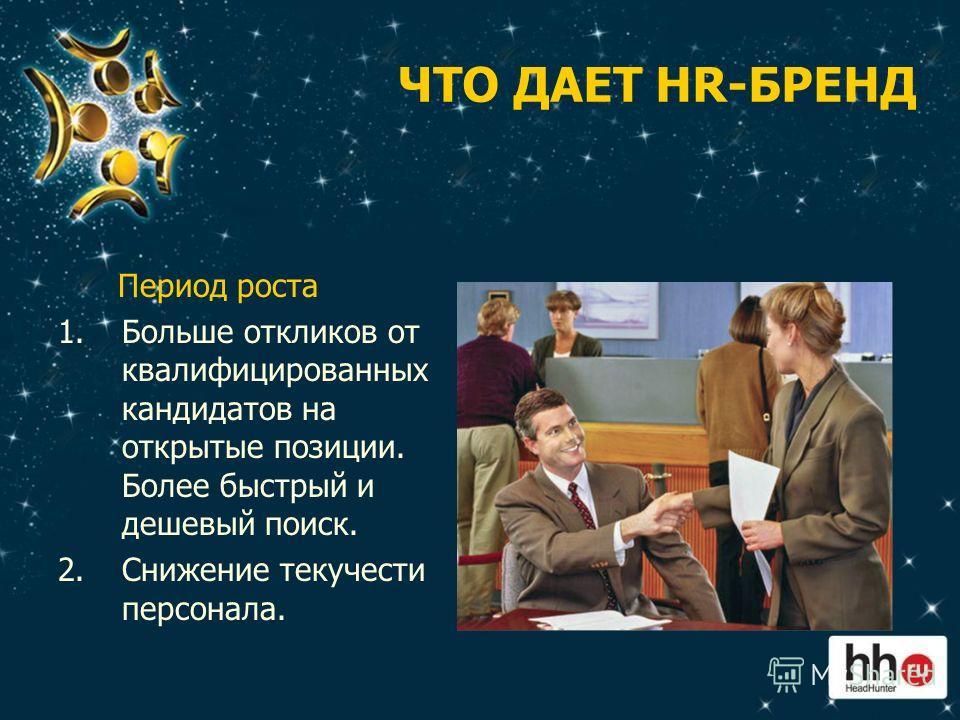 ЧТО ДАЕТ HR-БРЕНД Период роста 1.Больше откликов от квалифицированных кандидатов на открытые позиции. Более быстрый и дешевый поиск. 2.Снижение текучести персонала.