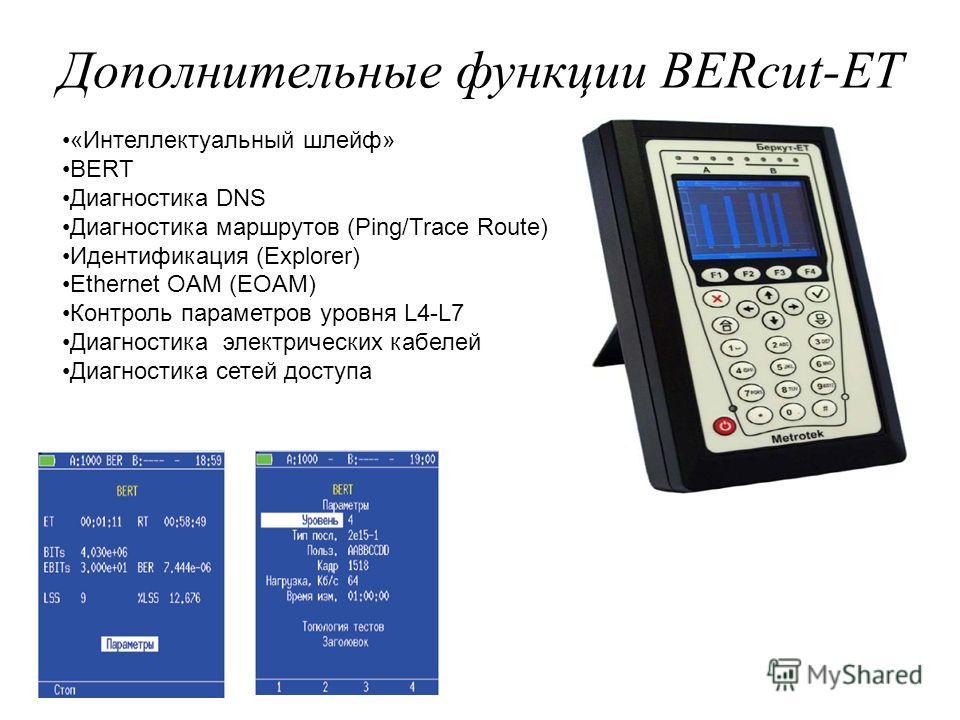 Дополнительные функции BERcut-ET «Интеллектуальный шлейф» BERT Диагностика DNS Диагностика маршрутов (Ping/Trace Route) Идентификация (Explorer) Ethernet OAM (EOAM) Контроль параметров уровня L4-L7 Диагностика электрических кабелей Диагностика сетей