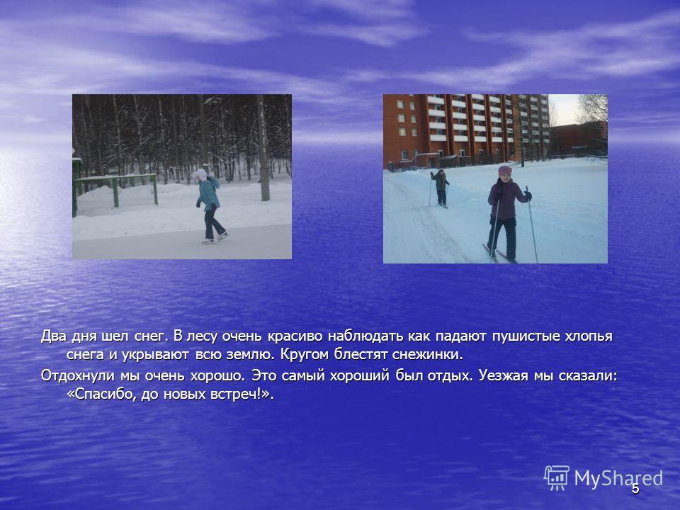 5 Два дня шел снег. В лесу очень красиво наблюдать как падают пушистые хлопья снега и укрывают всю землю. Кругом блестят снежинки. Отдохнули мы очень хорошо. Это самый хороший был отдых. Уезжая мы сказали: «Спасибо, до новых встреч!».
