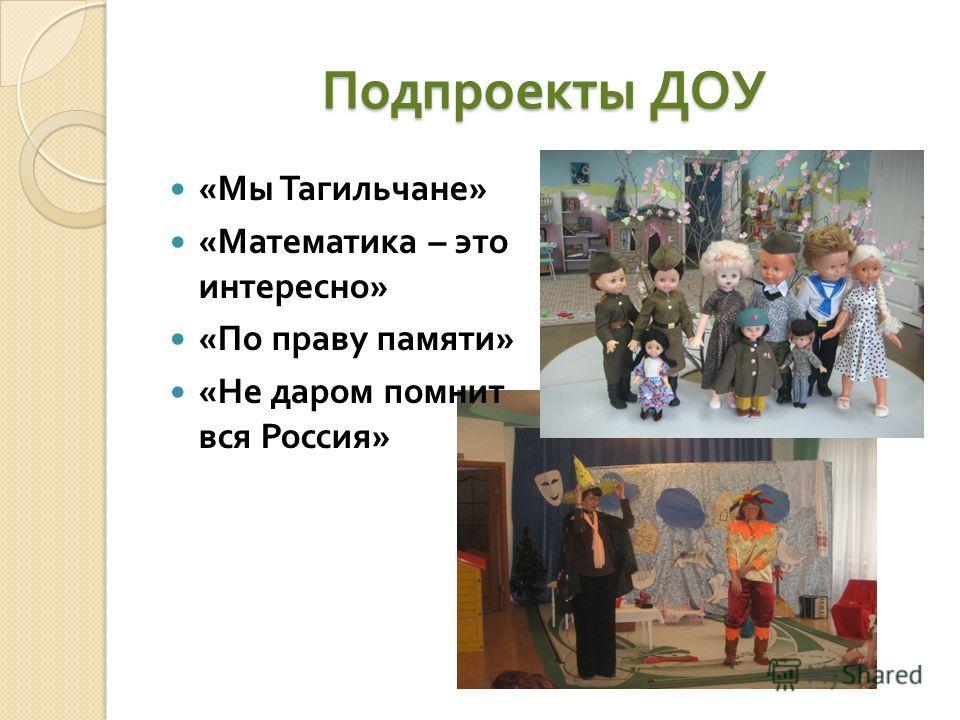 Подпроекты ДОУ « Мы Тагильчане » « Математика – это интересно » « По праву памяти » « Не даром помнит вся Россия »
