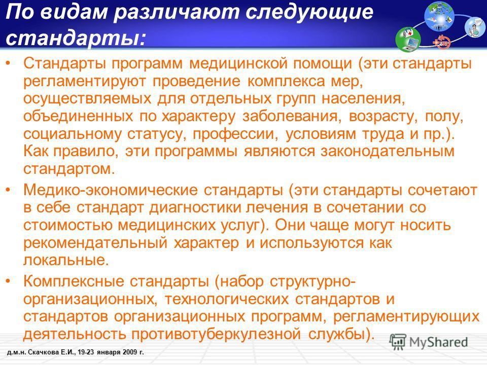 д.м.н. Скачкова Е.И., 19-23 января 2009 г. По видам различают следующие стандарты: Стандарты программ медицинской помощи (эти стандарты регламентируют проведение комплекса мер, осуществляемых для отдельных групп населения, объединенных по характеру з