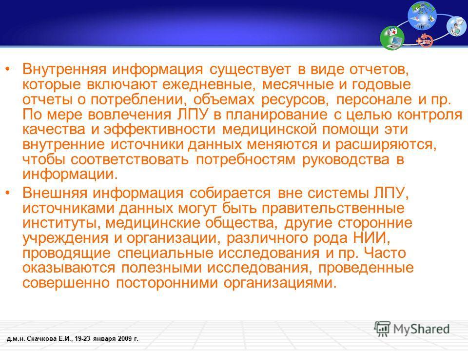 д.м.н. Скачкова Е.И., 19-23 января 2009 г. Внутренняя информация существует в виде отчетов, которые включают ежедневные, месячные и годовые отчеты о потреблении, объемах ресурсов, персонале и пр. По мере вовлечения ЛПУ в планирование с целью контроля