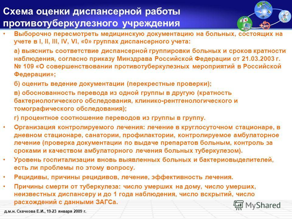 д.м.н. Скачкова Е.И., 19-23 января 2009 г. Схема оценки диспансерной работы противотуберкулезного учреждения Выборочно пересмотреть медицинскую документацию на больных, состоящих на учете в I, II, III, IV, VI, «0» группах диспансерного учета: а) выяс