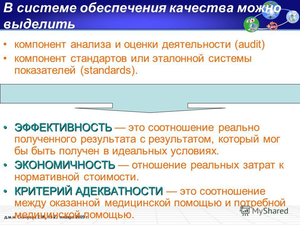 д.м.н. Скачкова Е.И., 19-23 января 2009 г. В системе обеспечения качества можно выделить компонент анализа и оценки деятельности (audit) компонент стандартов или эталонной системы показателей (standards). ЭФФЕКТИВНОСТЬЭФФЕКТИВНОСТЬ это соотношение ре