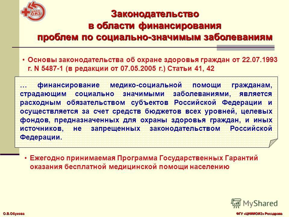 … финансирование медико-социальной помощи гражданам, страдающим социально значимыми заболеваниями, является расходным обязательством субъектов Российской Федерации и осуществляется за счет средств бюджетов всех уровней, целевых фондов, предназначенны