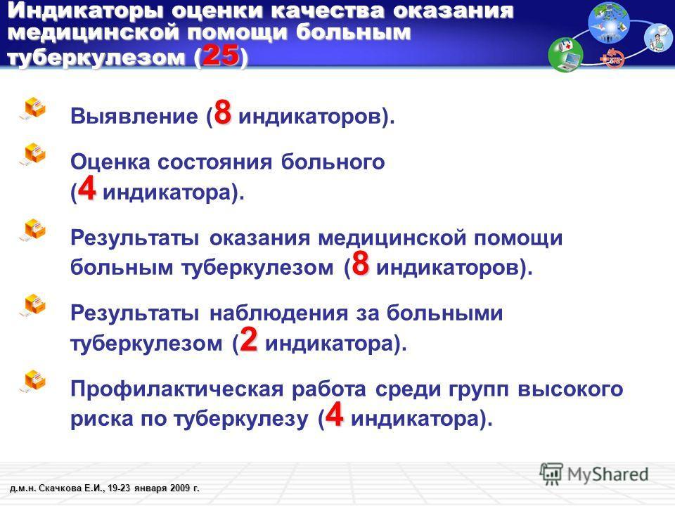 д.м.н. Скачкова Е.И., 19-23 января 2009 г. Индикаторы оценки качества оказания медицинской помощи больным туберкулезом ( 25 ) 8 Выявление ( 8 индикаторов). 4 Оценка состояния больного ( 4 индикатора). 8 Результаты оказания медицинской помощи больным