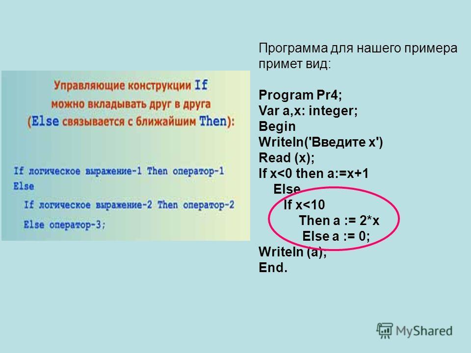 Программа для нашего примера примет вид: Program Pr4; Var a,x: integer; Begin Writeln('Введите x') Read (x); If x