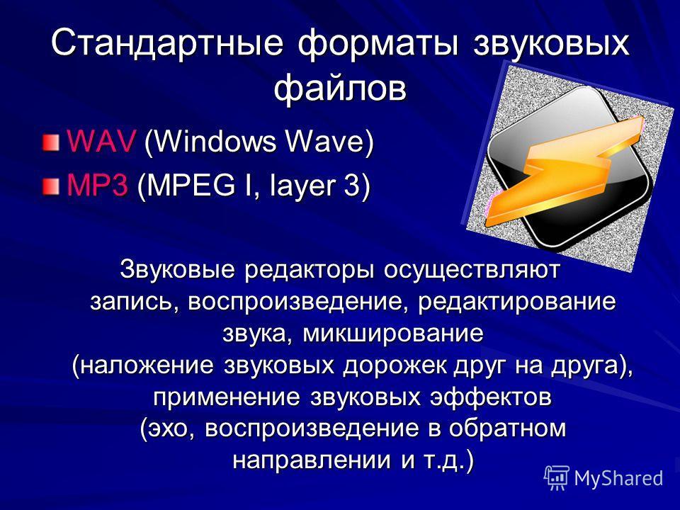 Стандартные форматы звуковых файлов WAV (Windows Wave) MP3 (MPEG I, layer 3) Звуковые редакторы осуществляют запись, воспроизведение, редактирование звука, микширование (наложение звуковых дорожек друг на друга), применение звуковых эффектов (эхо, во