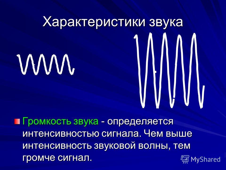Характеристики звука Громкость звука - определяется интенсивностью сигнала. Чем выше интенсивность звуковой волны, тем громче сигнал.