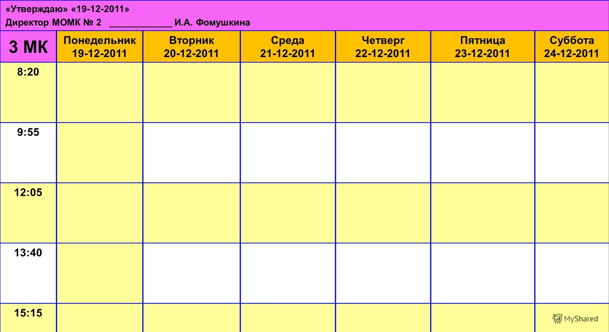 «Утверждаю» «19-12-2011» Директор МОМК 2 ____________ И.А. Фомушкина 3 МК Понедельник 19-12-2011 Вторник 20-12-2011 Среда 21-12-2011 Четверг 22-12-2011 Пятница 23-12-2011 Суббота 24-12-2011 8:20 9:55 12:05 13:40 15:15