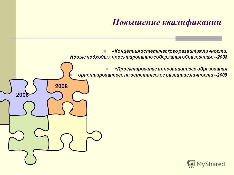 Повышение квалификации «Концепция эстетического развития личности. Новые подходы к проектированию содержания образования.»-2008 «Проектирование инновационного образования ориентированного на эстетическое развитие личности»-2008 2008