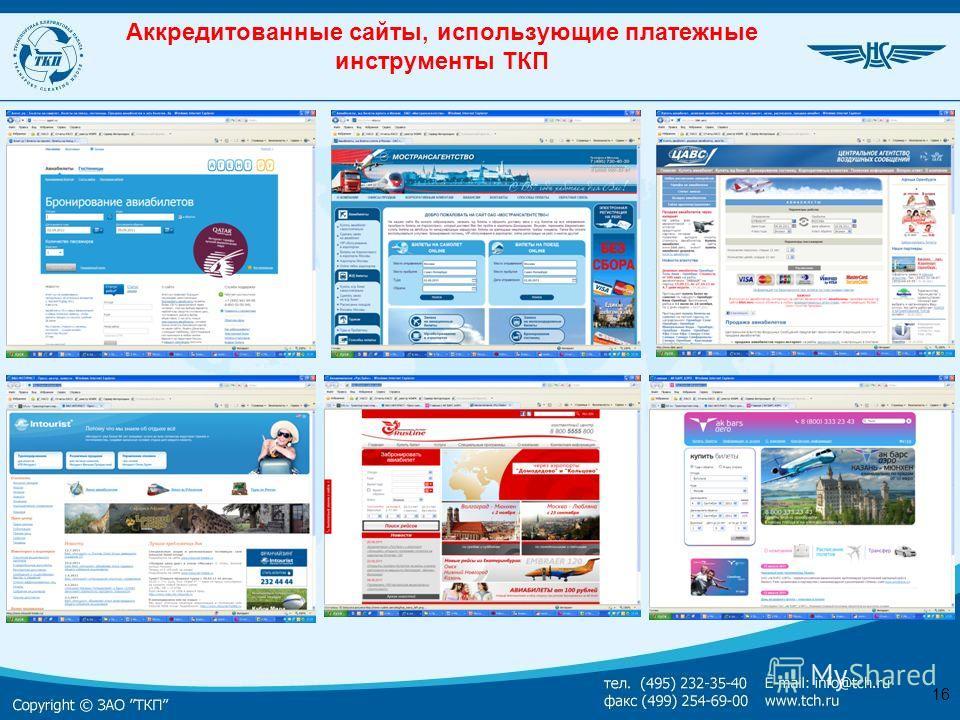 16 Аккредитованные сайты, использующие платежные инструменты ТКП