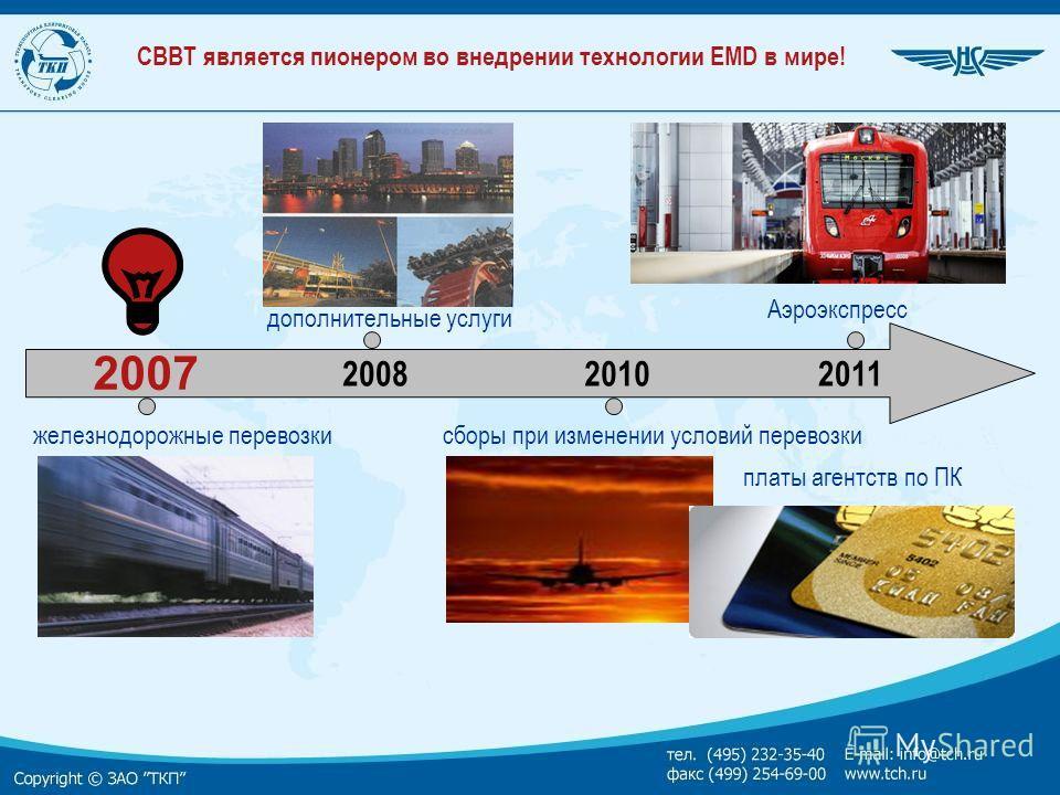 СВВТ является пионером во внедрении технологии EMD в мире! 2007 железнодорожные перевозки Аэроэкспресс дополнительные услуги сборы при изменении условий перевозки платы агентств по ПК 200820102011