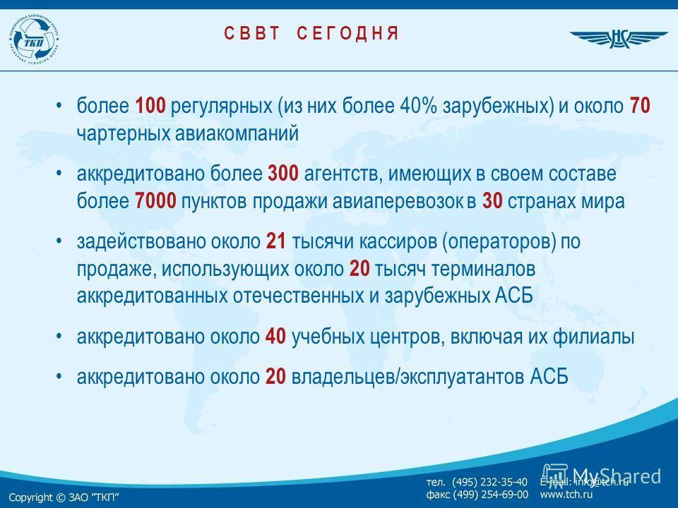 С В В Т С Е Г О Д Н Я более 100 регулярных (из них более 40% зарубежных) и около 70 чартерных авиакомпаний аккредитовано более 300 агентств, имеющих в своем составе более 7000 пунктов продажи авиаперевозок в 30 странах мира задействовано около 21 тыс