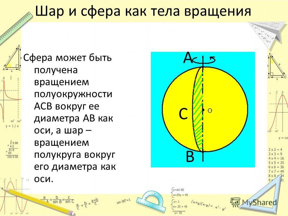 Шар и сфера как тела вращения Сфера может быть получена вращением полуокружности ACB вокруг ее диаметра AB как оси, а шар – вращением полукруга вокруг его диаметра как оси. А В С