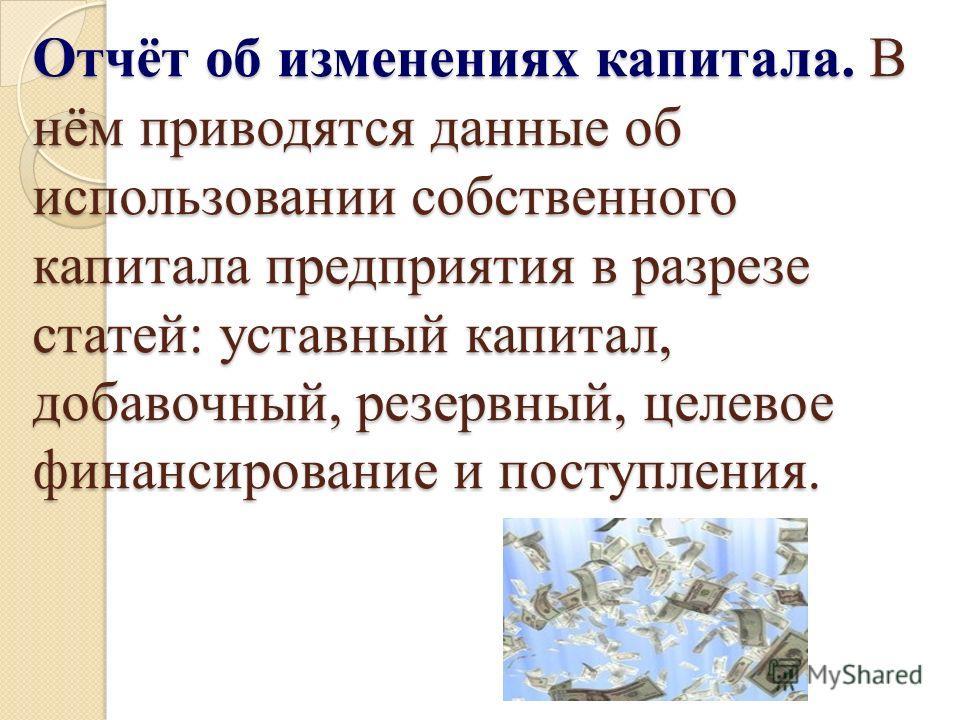 Отчёт об изменениях капитала. В нём приводятся данные об использовании собственного капитала предприятия в разрезе статей: уставный капитал, добавочный, резервный, целевое финансирование и поступления.
