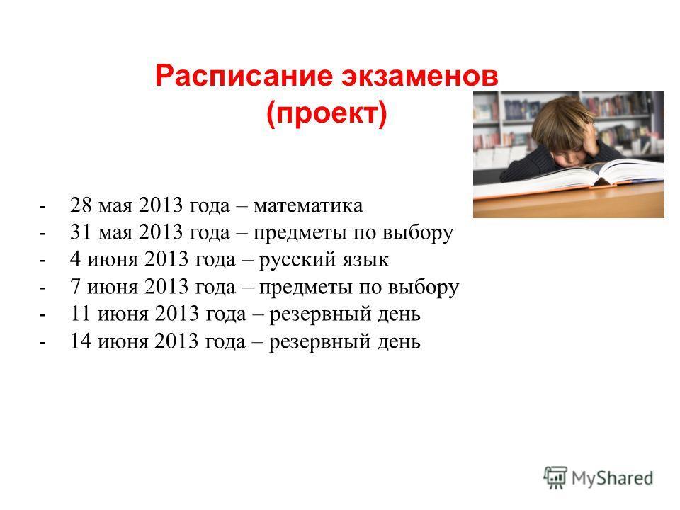 - 28 мая 2013 года – математика - 31 мая 2013 года – предметы по выбору - 4 июня 2013 года – русский язык - 7 июня 2013 года – предметы по выбору - 11 июня 2013 года – резервный день - 14 июня 2013 года – резервный день Расписание экзаменов (проект)