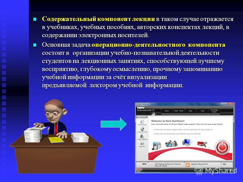Содержательный компонент лекции в таком случае отражается в учебниках, учебных пособиях, авторских конспектах лекций, в содержании электронных носителей. Содержательный компонент лекции в таком случае отражается в учебниках, учебных пособиях, авторск