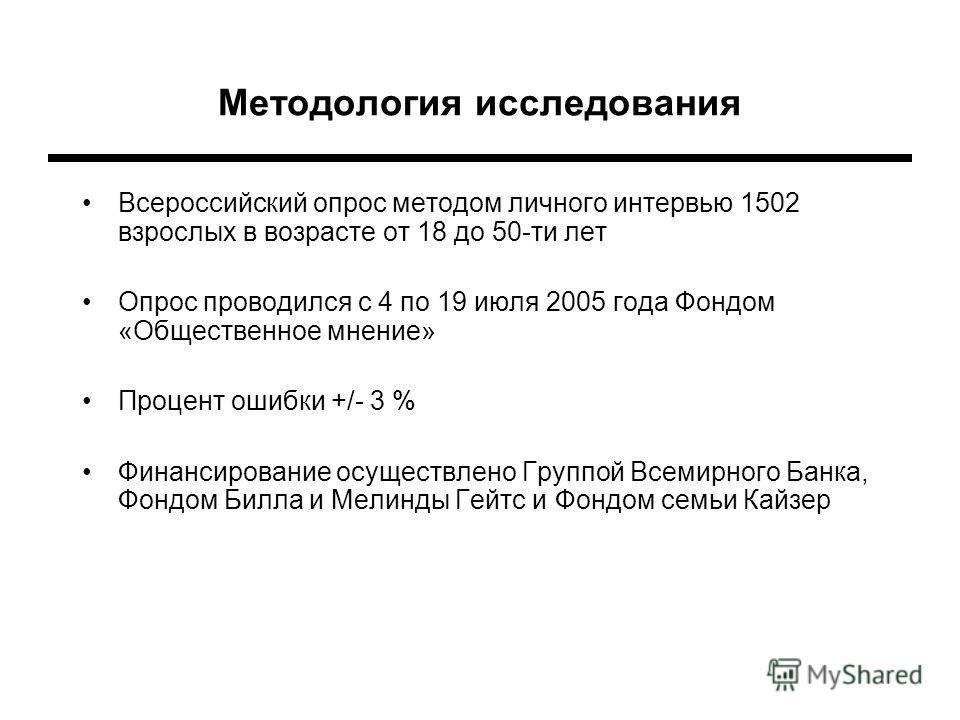 Методология исследования Всероссийский опрос методом личного интервью 1502 взрослых в возрасте от 18 до 50-ти лет Опрос проводился с 4 по 19 июля 2005 года Фондом «Общественное мнение» Процент ошибки +/- 3 % Финансирование осуществлено Группой Всемир