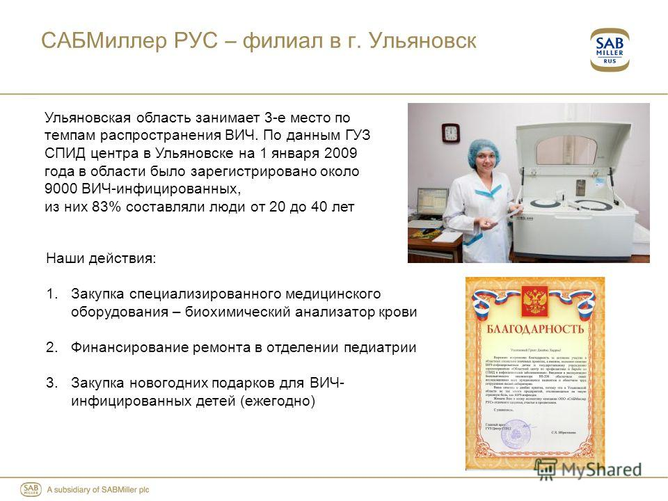 САБМиллер РУС – филиал в г. Ульяновск Наши действия: 1.Закупка специализированного медицинского оборудования – биохимический анализатор крови 2.Финансирование ремонта в отделении педиатрии 3.Закупка новогодних подарков для ВИЧ- инфицированных детей (