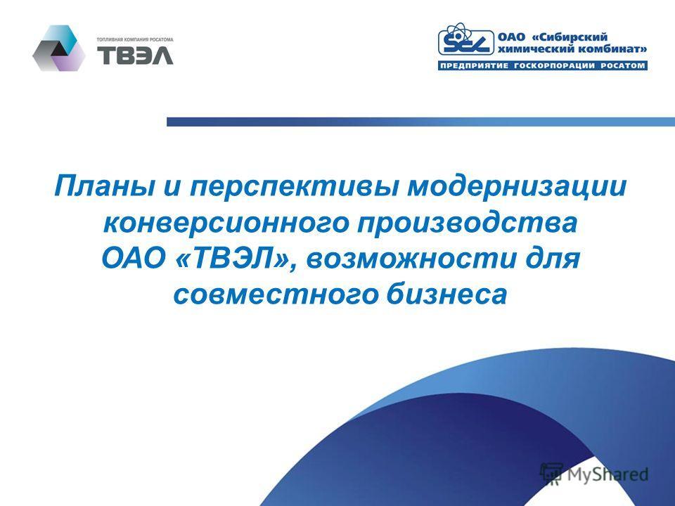 Планы и перспективы модернизации конверсионного производства ОАО «ТВЭЛ», возможности для совместного бизнеса