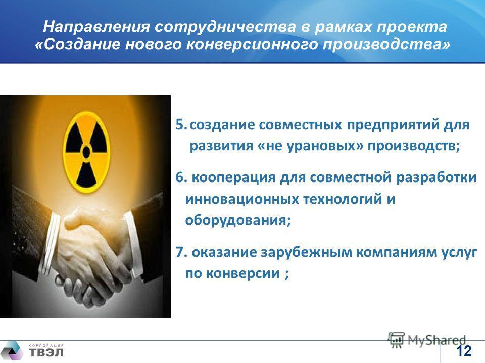логотип предприятия Направления сотрудничества в рамках проекта «Создание нового конверсионного производства» 12 5.создание совместных предприятий для развития «не урановых» производств; 6. кооперация для совместной разработки инновационных технологи