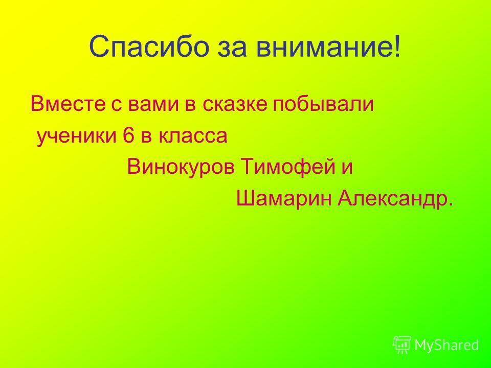 Спасибо за внимание! Вместе с вами в сказке побывали ученики 6 в класса Винокуров Тимофей и Шамарин Александр.