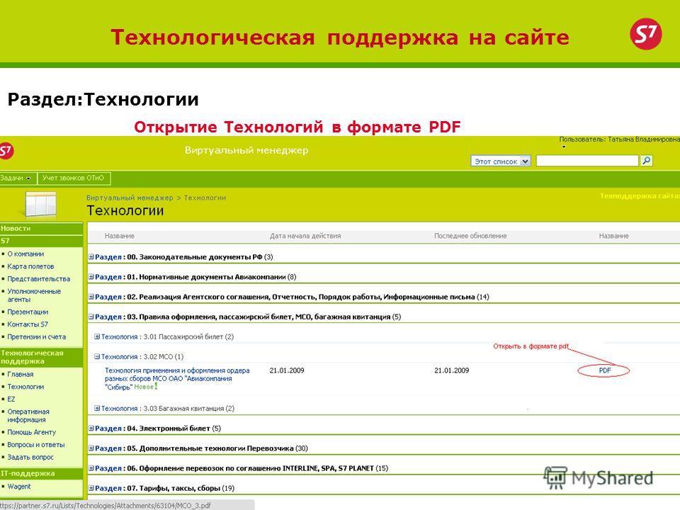 Технологическая поддержка на сайте Раздел:Технологии Открытие Технологий в формате PDF