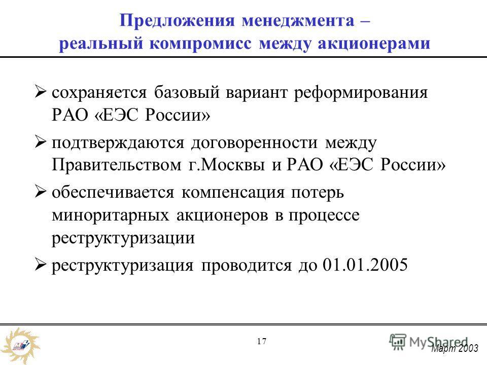 Март 2003 17 Предложения менеджмента – реальный компромисс между акционерами сохраняется базовый вариант реформирования РАО «ЕЭС России» подтверждаются договоренности между Правительством г.Москвы и РАО «ЕЭС России» обеспечивается компенсация потерь