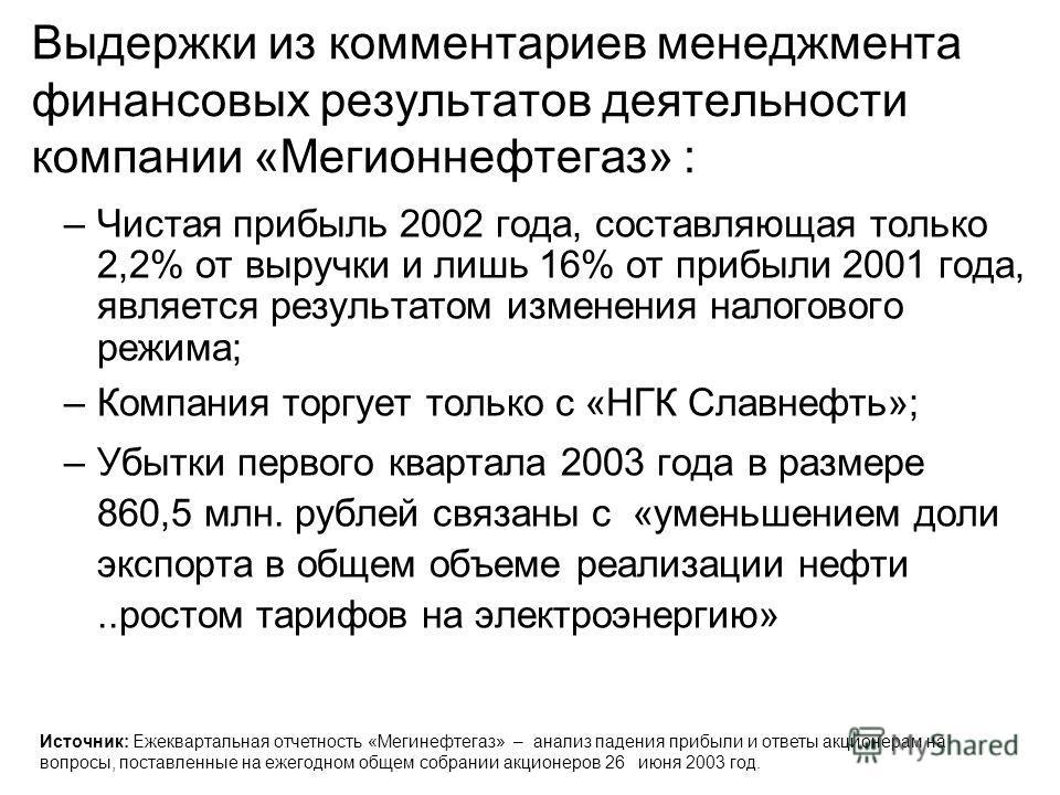 Выдержки из комментариев менеджмента финансовых результатов деятельности компании «Мегионнефтегаз» : –Чистая прибыль 2002 года, составляющая только 2,2% от выручки и лишь 16% от прибыли 2001 года, является результатом изменения налогового режима; –Ко