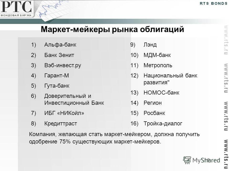 9 Маркет-мейкеры рынка облигаций 1)Альфа-банк 2)Банк Зенит 3)Вэб-инвест.ру 4)Гарант-М 5)Гута-банк 6)Доверительный и Инвестиционный Банк 7)ИБГ «НИКойл» 8)Кредиттраст 9)Лэнд 10)МДМ-банк 11)Метрополь 12)Национальный банк развития
