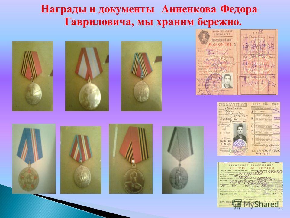 20 Награды и документы Анненкова Федора Гавриловича, мы храним бережно.