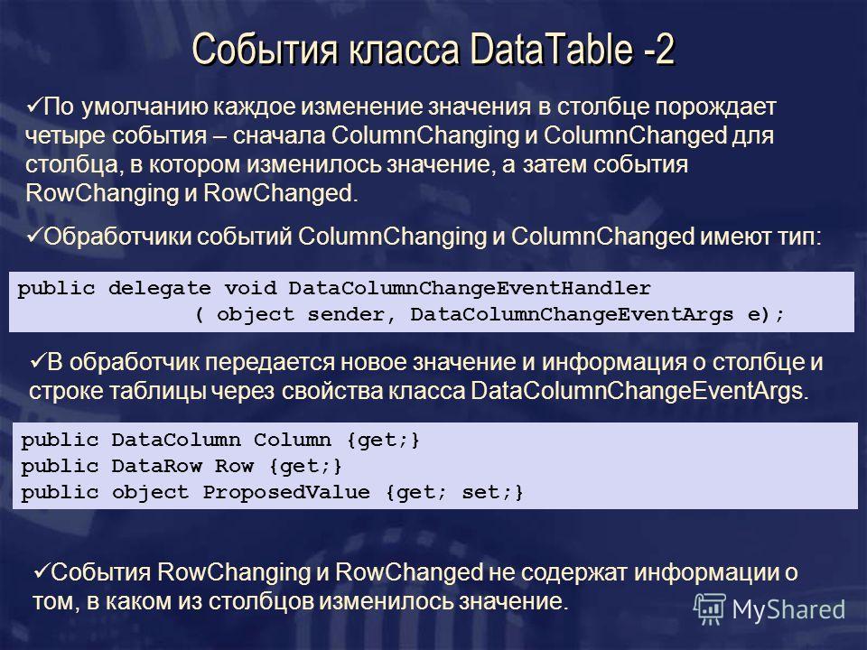 События класса DataTable -2 public delegate void DataColumnChangeEventHandler ( object sender, DataColumnChangeEventArgs e); public DataColumn Column {get;} public DataRow Row {get;} public object ProposedValue {get; set;} По умолчанию каждое изменен
