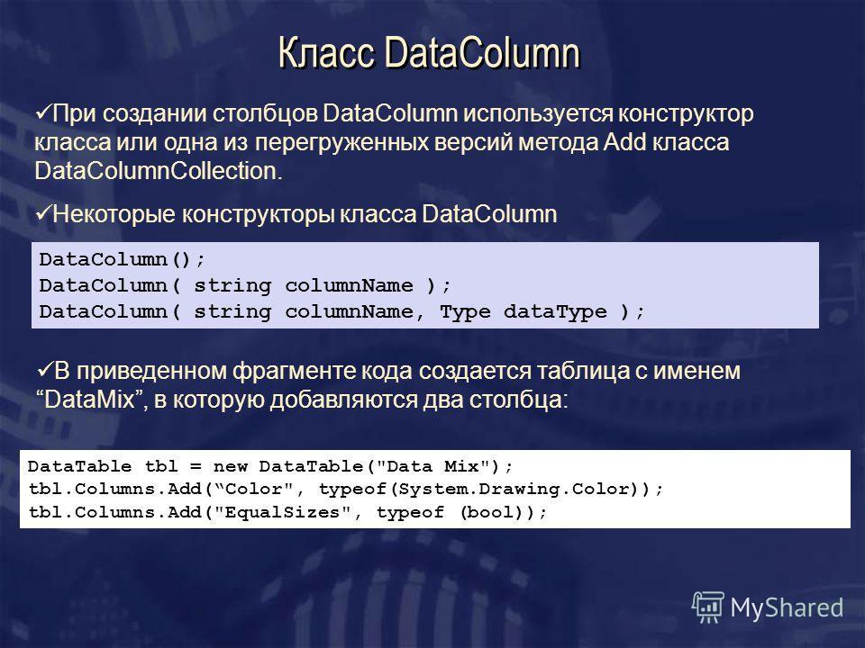 Класс DataColumn DataColumn(); DataColumn( string columnName ); DataColumn( string columnName, Type dataType ); При создании столбцов DataColumn используется конструктор класса или одна из перегруженных версий метода Add класса DataColumnCollection.