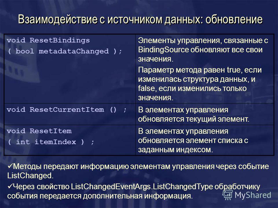 Взаимодействие с источником данных: обновление void ResetBindings ( bool metadataChanged ); Элементы управления, связанные с BindingSource обновляют все свои значения. Параметр метода равен true, если изменилась структура данных, и false, если измени