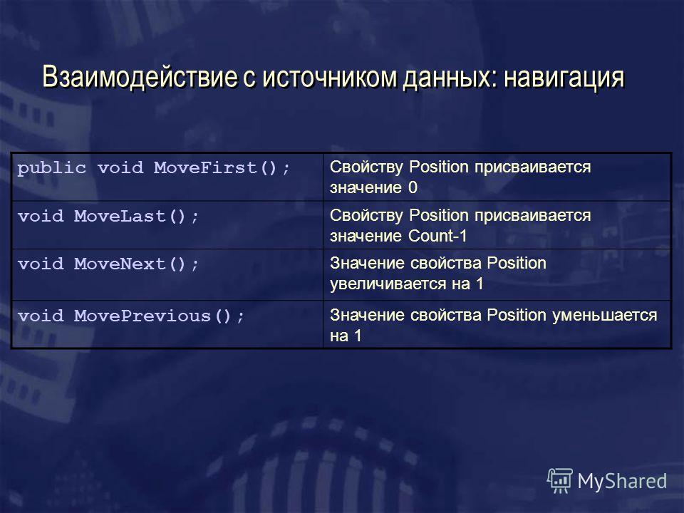 Взаимодействие с источником данных: навигация public void MoveFirst(); Свойству Position присваивается значение 0 void MoveLast(); Свойству Position присваивается значение Count-1 void MoveNext(); Значение свойства Position увеличивается на 1 void Mo