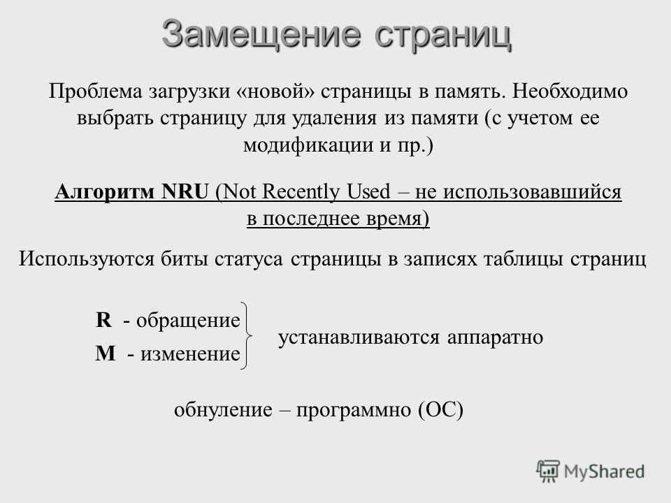 Замещение страниц Проблема загрузки «новой» страницы в память. Необходимо выбрать страницу для удаления из памяти (с учетом ее модификации и пр.) Алгоритм NRU (Not Recently Used – не использовавшийся в последнее время) Используются биты статуса стран