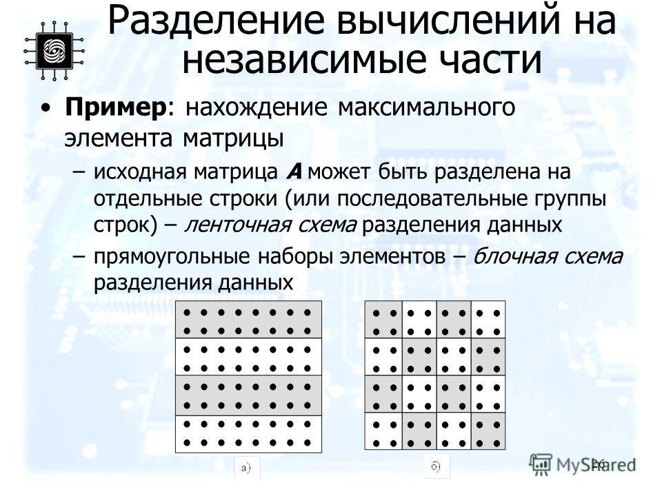 26 Пример: нахождение максимального элемента матрицы –исходная матрица A может быть разделена на отдельные строки (или последовательные группы строк) – ленточная схема разделения данных –прямоугольные наборы элементов – блочная схема разделения данны
