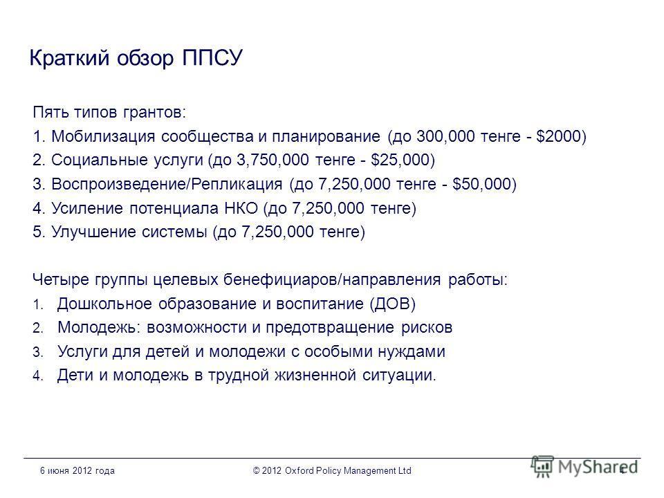 Краткий обзор ППСУ Пять типов грантов: 1. Мобилизация сообщества и планирование (до 300,000 тенге - $2000) 2. Социальные услуги (до 3,750,000 тенге - $25,000) 3. Воспроизведение/Репликация (до 7,250,000 тенге - $50,000) 4. Усиление потенциала НКО (до