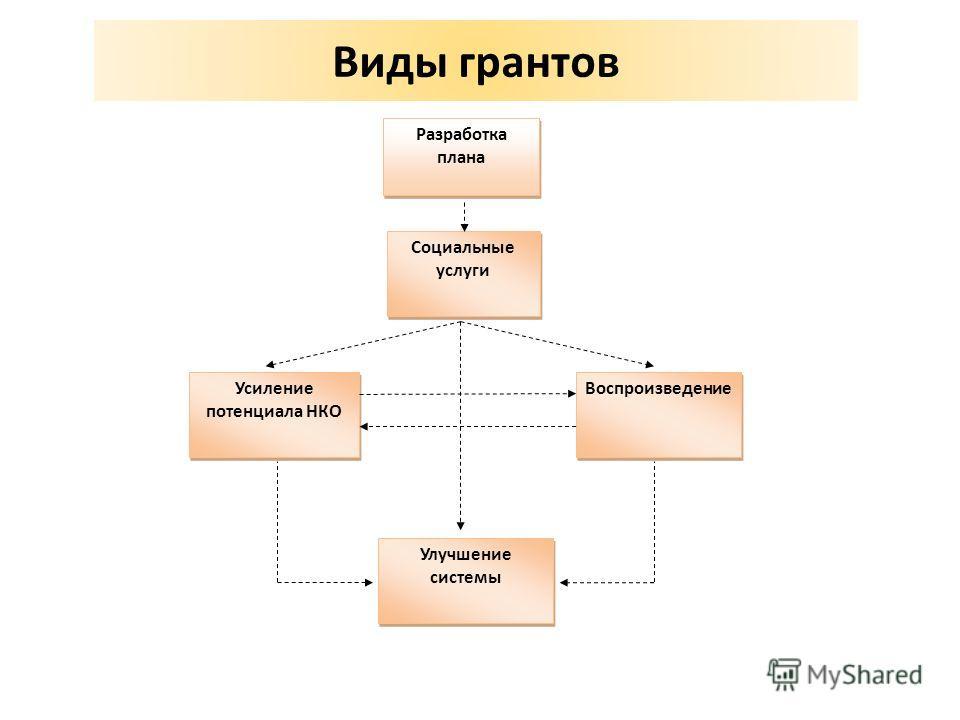 Виды грантов Улучшение системы Разработка плана Социальные услуги Воспроизведение Усиление потенциала НКО