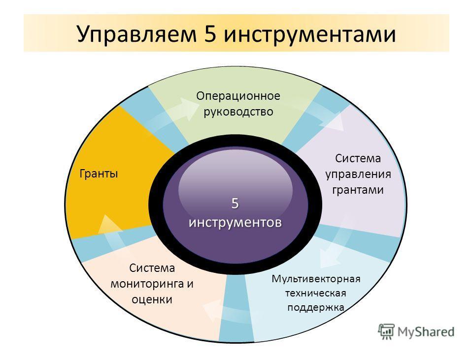 Управляем 5 инструментами 5 инструментов Система мониторинга и оценки Система управления грантами Мультивекторная техническая поддержка Операционное руководство Гранты