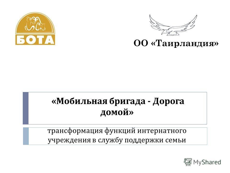 « Мобильная бригада - Дорога домой » трансформация функций интернатного учреждения в службу поддержки семьи ОО «Таирландия»