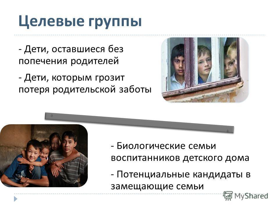 - Дети, оставшиеся без попечения родителей - Дети, которым грозит потеря родительской заботы - Биологические семьи воспитанников детского дома - Потенциальные кандидаты в замещающие семьи Целевые группы