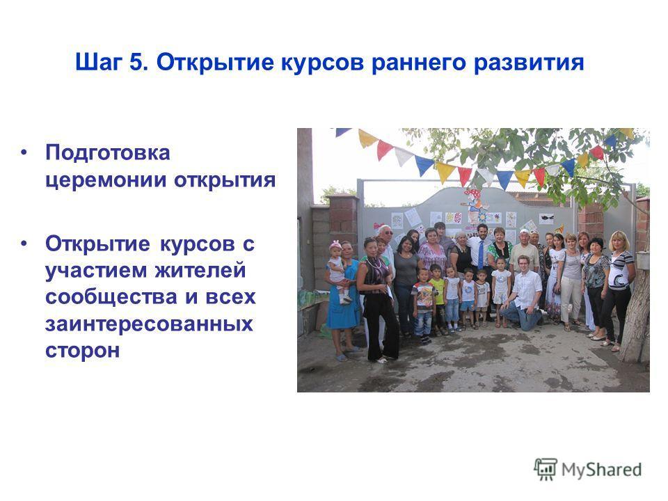 Шаг 5. Открытие курсов раннего развития Подготовка церемонии открытия Открытие курсов с участием жителей сообщества и всех заинтересованных сторон